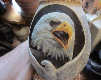 Beer Stein Tankard with Eagles, Pottery
