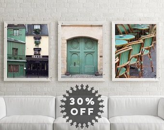 "SALE Paris Prints, Set of 3 Prints, Wall Art Print Set, Paris Photography, Green Art, Paris Cafe Chairs Door, French Decor ""Very Vert"""