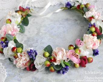 Wedding flower crown Bridal Flower Crown Woodland Crown Flower hair wreath Boho wedding hairpiece Floral Halo Wedding floral crown LV12