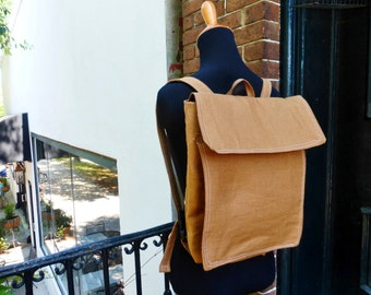 Unisex Ginger Brown Linen Feeding Tube Backpack - Custom Fabric Choices - Front Pocket for Quick Pump Access