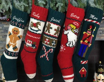 Knitted Christmas Stockings Personalized Hand Knit Wool Stockings