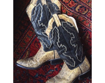 Vintage 70s leather snakeskin tall cowboy boots