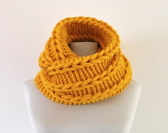 Chunky Infinity Scarf Mustard Cowl Neckwarmer Circle Scarf Cozy Knits Winter Accessories