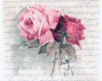 decoupage napkins vintage roses and love poem rose napkins floral napkins romantic