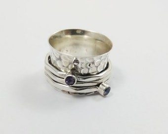 Spinner Ring Amethyst and Rainbow Moonstone, Meditation Ring, Fidget Rings, Boho Ring, Anxiety Ring, Worry Ring