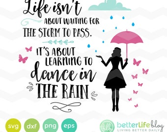 Dance in the Rain Svg: Girl with Umbrella in Rain SVG File, DXF Silhouette Cameo, Cricut dance in the rain Svg cut file