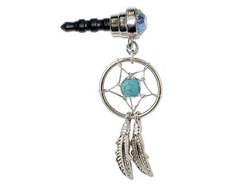 Silvertone DREAM CATCHER Curved Feathers Aqua Gem Turquoise Bead Cell Phone Dust Plug Charm for iPhone Android Galaxy Mobile Ipad Tablet