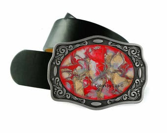 Red Enamel Belt Buckle Hand Painted Quartz Inpired Design Belt Buckle for Snap Belts Leo Buckle with Custom Colors Available