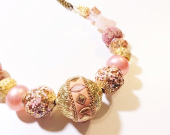 rose gold glass beaded necklace