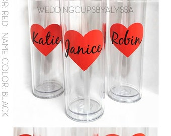 Custom tall skinny cups, bridal set, personalized cups, bridal shower gift, wedding gift, wedding favors, bridesmaids gift, wedding cup