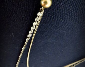 Necklace art nouveau brass chain sequins two levels