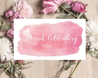 Wedding place cards, watercolor place cards, name cards watercolor, folded wedding place card, bridal shower placecards, ISP066