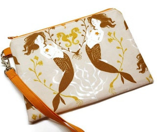 Mermaids zippered iPhone wristlet wallet,  cell phone purse with credit card pockets. Salmon and orange.