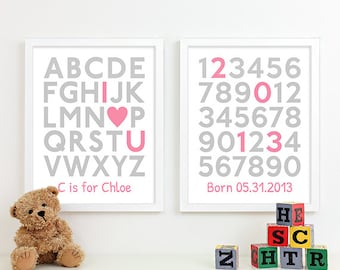 Girl Nursery Art for Baby Girl Nursery Decor Alphabet Wall Art, Baby Birth Art Girl Baby Name Art, Girl Baby Announcement Birth Stats