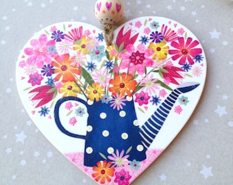 Pretty Blue and white spotty water can with flowers wooden heart hanger.Gift for any occasion.Hand painted bead. selection of tags to choose