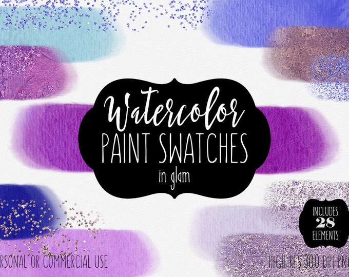 WATERCOLOR BRUSH Strokes Clipart Commercial Use Clip Art Watercolor Paint Headers Purple Pink Blue Rose Gold Confetti Textures Logo Elements
