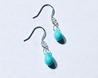Turquoise Czech Glass Teardrop Earrings