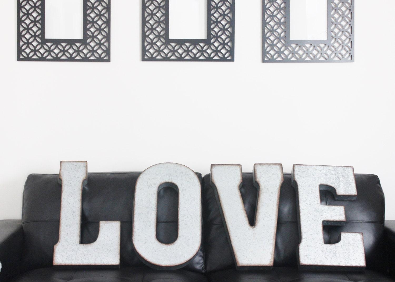 Galvanized Monogram Letters Love Metal Letters Sign Galvanized Industrial Zinc Letters