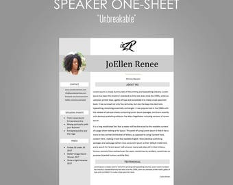 "Microsoft Word Editable Speaker One Sheet Template ""Unbreakable"" for Ministers 