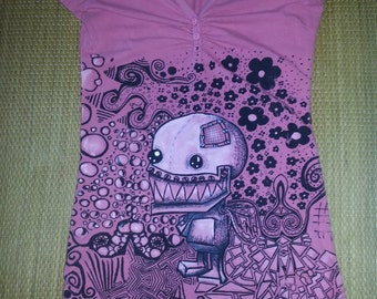 Psychedelic Robot T-Shirt :recycled, hand- printed, original Design