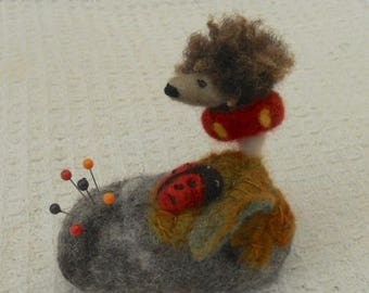 Hedgehog on a pebble, Pebble pincushion, mothers day,  Needle Felted gift, needles and pins, easter Gift, felted hedgehog, felt pincushion