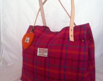 Harris tweed bag purse tote made in Scotland pink plaid tartan Scottish ladies gift.