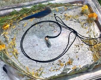 Aromatherapy Necklace with Tiny Bottle Charm, Uplifting Spirit Herbal Harvest Charm Necklace, Minimalist Boho Necklace