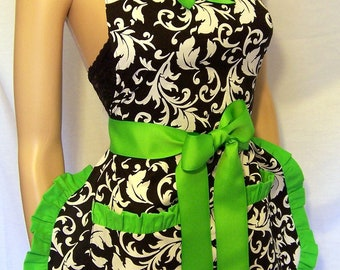 Hoestess Apron Black and White, ALL COLORS, Scotch Guarded