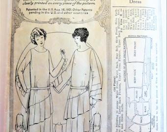 Vintage 20s Flapper Dress Pattern McCall 3151, Dropped Low Waist Diagonal Flounces, Antique Printed Pattern, Long Short Sleeves Size Bust 38