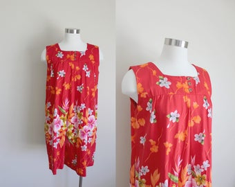 1960s Hawaiian Dress | Shift Dress | Floral Dress | Cotton Dress | Large