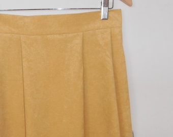 golden suedette...vintage fabric pleated midi skirt with pockets