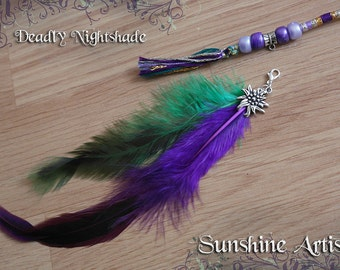 Feather hair braid, purple hair wrap, 'Deadly Nightshade', purple and mint, sea green, grey silver gold, rooster tail feathers, flower charm