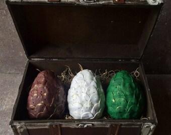 Khaleesi Dragon Eggs - Game of Thrones - Set of 3 Dragon Eggs w/ Trunk Included - Targaryen Dragon Eggs - Gift Set
