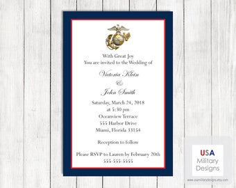 US Marine Corps Wedding Invitation, Printable Marine Corps Wedding Invitation, Military Wedding Invitation, US Marine Corps Wedding Invite