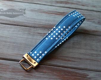 Jean Jacket Blue Cotton + Steel Dottie Key Fob key chain