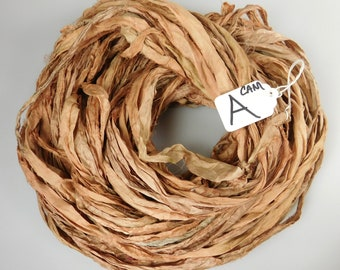 Sari silk Ribbon, Recycled Silk Sari Ribbon, Driftwood sari ribbon, Camel silk sari ribbon, weaving supply, knitting supply, jewelry supply