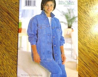 DESIGNER Delta Burke Classic Jean Jacket Pattern / 1990s Denim Coat / Vest - PLUS Size (16w - 20w) - UNCUT ff Sewing Pattern Butterick 5581