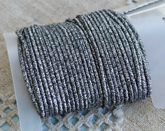 Cord Stretch Polyester Fiber with Elastic Core Metallic Charcoal 1.5mm 10-yard Card