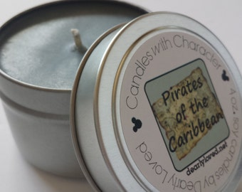 PIRATES of the CARIBBEAN - Candles with Character | Soy Wax Candle | Hand Poured | Disney Scented | Wedding Favors | Gift | Travel Tin
