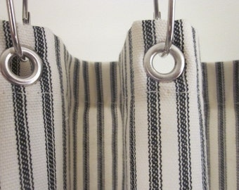 Ticking Stripe Shower Curtain Black, Brown, Grey, Navy Blue, Red  72x72 custom sizes available