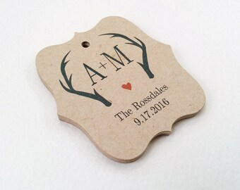 Personalized Wedding Favor Tags, Rustic Initials Wedding Tags, Antlers Favor Tags, Wedding tags on Kraft, Set of 25 (TW06k)