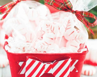 12 Pack Peppermint Snowflake Soap Basket