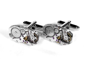 Steampunk Jewelry Mens Cufflinks Vintage ART DECO Ruby Jeweled Watch Movements, Groom, Wedding, Fathers Day - Jewelry by Steampunk Boutique