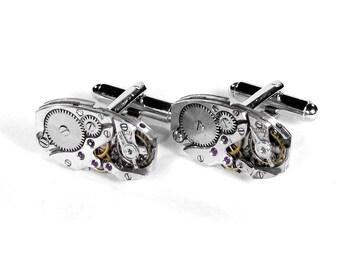 Mens Cufflinks, Steampunk Jewelry Vintage ART DECO Ruby Jeweled Watch Movements, Groom Wedding, Boyfriend, Husband Gift - Steampunk Boutique
