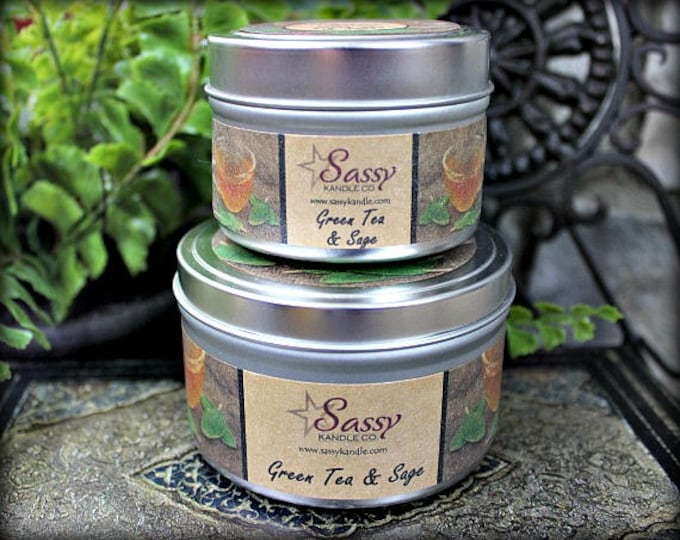 GREEN TEA & SAGE | Candle Tin (4 or 8 oz) | Sassy Kandle Co.