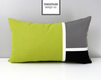 Acid Green & Grey Sunbrella Outdoor Pillow Cover, Decorative Color Block Pillow Cover, Modern Black White Pillow Cover, Cushion Cover