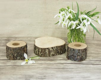 Unity Candle Holder Set, Rustic Wedding Decor, Taper and Cylinder Candle Holders Set of 3, Wedding Ceremony, Woodland Country Wedding Decor