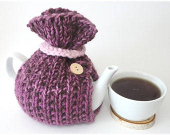 Tea Cosy, Tea Cozy, Burgundy and Pink Tea Cozy, Burgundy and Pink Tea Cosy, Handknit Tea Cozy, Handknit Tea Cosy 6 cup teapot cozy
