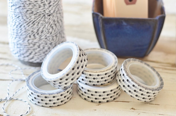 Polka Dot Washi Tape - White With Black Dots. Rolls are 15 mm by 10 meters long