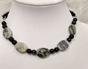 Grey, black and white ribbon necklace